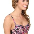 $88 BECCA MULTI PRINT WIRE BRA BIKINI TOP. ADJUSTABLE STRAP MEDIUM PINK