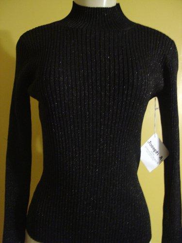 NWT Joseph A. black lurex ribbed mock neck knit top.