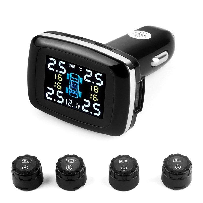 Tire Pressure Monitoring System - 4 Sensors, Real-Time Data, Pressure, Temperature, Warning Alarm