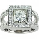 Moissanite and Diamond Dinner Ring