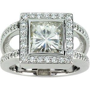 Moissanite and Diamond Dinner Ring