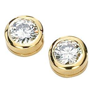 Moissanite Bezel Set Stud Earrings
