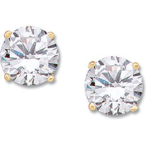 Moissanite Solitaire Earrings, 1 ct tw