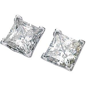 Princess Style Square Brilliant Cut Moissanite Stud Earrings .75 ct tw