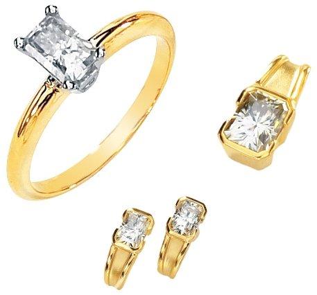Emerald Cut Moissanite Engagement Set*