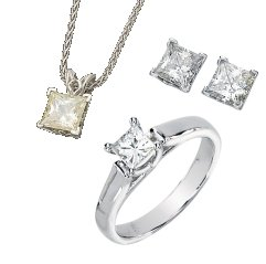 Princess Style Square Brilliant Cut Moissanite Engagement Set