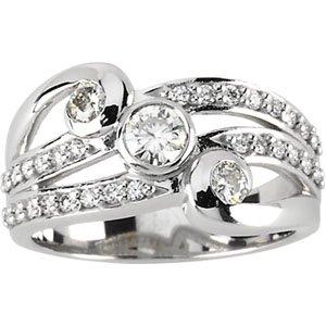 "Moissanite & Diamond ""Waves"" Right Hand Ring"