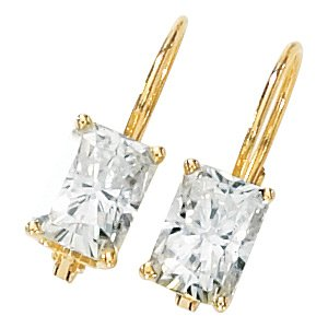 Emerald Cut Moissanite Scroll Setting Lever Back Earrings*