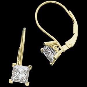 Moissanite Princess Scroll Lever Back Earrings*