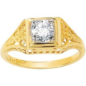 Moissanite Solitaire Filigree Ring