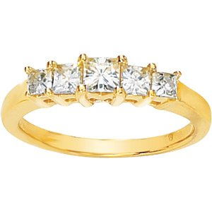 Five-Stone Moissanite Princess Style Anniversary Band