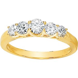 Five-Stone Moissanite Round Cut Anniversary Band