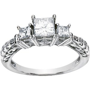 Cathedral Setting Three-Stone Princess Style Moissanite Anniversary Ring