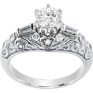 Moissanite & Diamond Baguettes Engagement Ring
