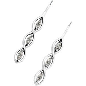 3-Stone Vertical Moissanite Marquise Earrings