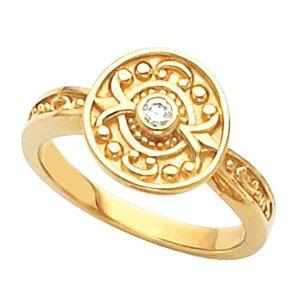 Etruscan Inspired Moissanite Ring