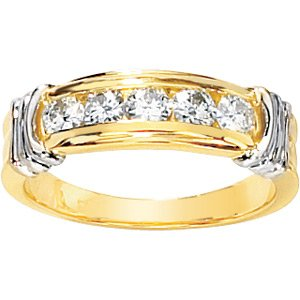 Five-Stone Channel Set Moissanite Two Tone Anniversary Band