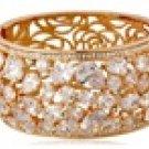 VANCY 18K Gold Plated Alloy Jeweled Stencil Floral Bracelet