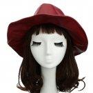 VANCY Chic Women Men Fedora PU Leather Pinched Crown Wide Brim Jazz Hat Cap