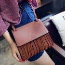 VANCY Letter Embossed Faux Leather Fringe Bag