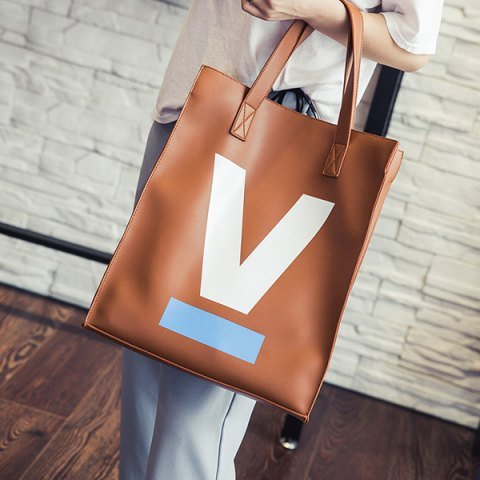 VANCY Fashion women's PU Leather Letter V Printed Shoulder Bag - Brown