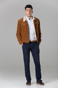 Polar White Men's Brown Western Cord Jacket With Faux Fur Lining