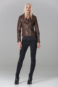POLAR WHITES WOMENS LADIES BROWN FAUX LEATHER AMILIA R6 BIKER JACKET (RRP £64)