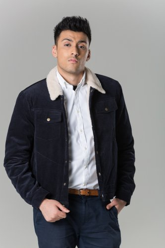Polar White Men's Navy Western Cord Jacket With Faux Fur Lining