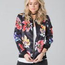 POLAR WHITES FLORAL PRINTED SATIN BOMBER JACKET