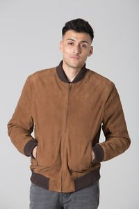 POLAR WHITES MENS BLACK  SUEDE  BOMBER JACKET RRP £100.00