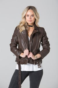 POLAR WHITES WOMENS BROWN STRUCTURED QUILTED SHOULDER BIKER JACKET RRP£49.99