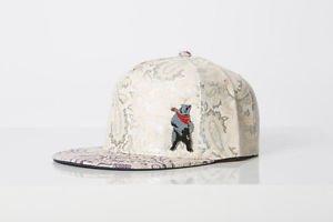 Polar whites purple and white faux leather paisley print cap
