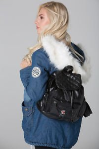 POLAR WHITES BLACK QUILTED FLAP BACKPACK WITH SINGLE ZIP POCKET (STYLE1)