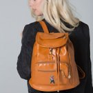 POLAR WHITES DOUBLE ZIPPER FAUX LEATHER TAN BACKPACK (STYLE10)