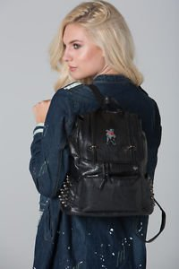 POLAR WHITES BLACK FAUX LEATHER SIDE STUDDED FRONT ZIP POCKET BACKPACK (STYLE2)