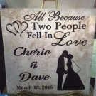 Ceramic Tile Personalized Gift Wedding Anniversary Couples Custom 12 x 12