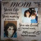 "Life was a Blessing Loved Memory Memorial Mom Dad  Personalized Ceramic Tile 12 x 12"" Custom Gift"