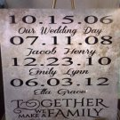 """Together We Make a Family Wedding Anniversary Personalized Ceramic Tile 12 x 12"""" Custom Gift Love"""
