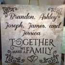 "Together We Make a Family Wedding Couples Anniversary Personalized Ceramic Tile 12 x 12"" Custom Gift"