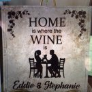 "WINE FRIENDS Wedding Couples Anniversary Personalized Ceramic Tile 12 x 12"" Custom Gift"