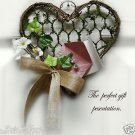 Valentine Gift Card Presentation Mini Wreath for Jewelry~Her~Unique~Flower~Heart