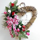 Valentine's Day WREATH~Pink~Natural~Heart~Red~White~Rose~Bow~Decor~GIFT for Her