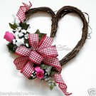 Cheerful Valentine's Day WREATH~HEART~Red~Pink~Roses~Gift~Decor~For Her~Pretty