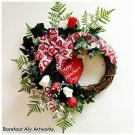 Happy Valentine's Day WREATH~HEART SIGN~Red~Pink~Roses~Bow~Decor~Love~Her~Gift