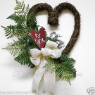 Rustic~Valentines Day WREATH~Antique~Burgundy~Heart~Bow~Gift~Decor~Natural~Cream
