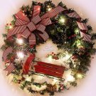 SALE! 50% OFF Original Price! Christmas Wreath~Battery LED LIGHTS~Red~Sled~SNOW