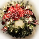 SALE!! 50% OFF Original Price! CHRISTMAS-WINTER-WREATH-LED LIGHTS~Red~Bow~Snow