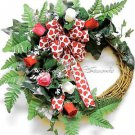 FREE SHIP! Valentine's Day WREATH~Decor~Gift~Love~Her~Roses~Red~Pink~Bow~Natural
