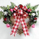 Valentine's Day WREATH~Red~Rose~Heart~Bow~Gift~Sweetheart~Decor~Her~Country~Pink