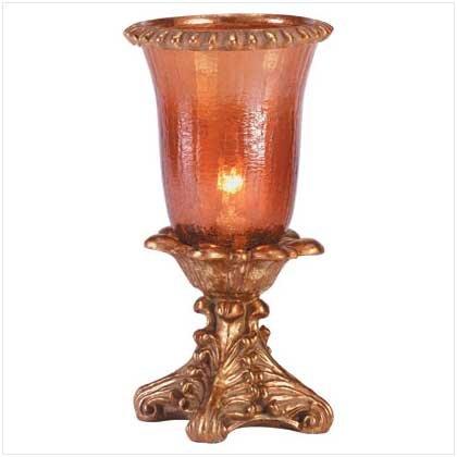 AMBER CRACKLE HURRICANE LAMP